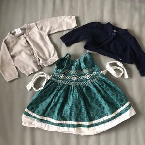 Lot of 3 items, dress from France, 2 cardigans